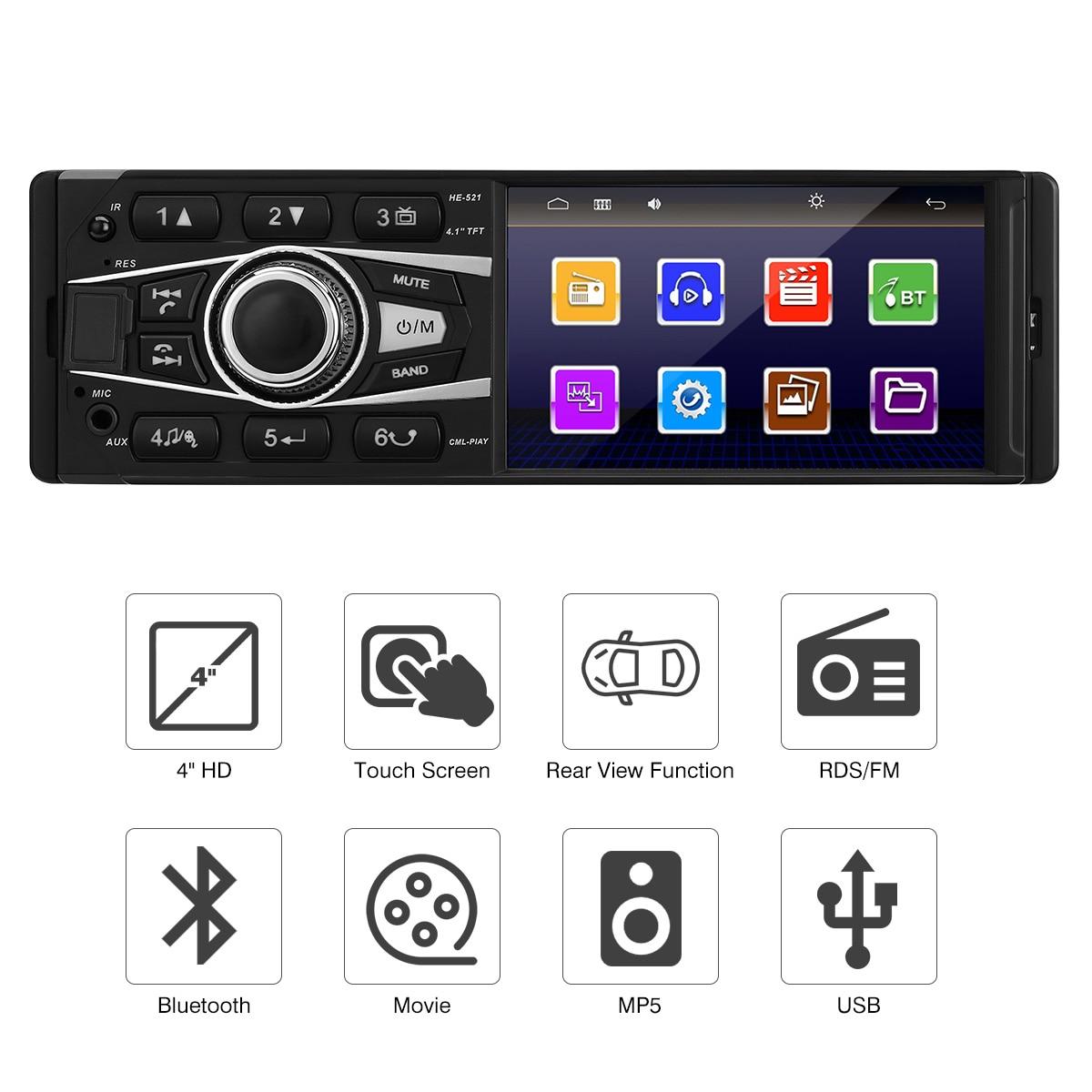 4 ''lecteur de voiture MP5 FM RDS Auto Radio Bluetooth écran tactile 1din voiture stéréo Audio récepteur de musique USB SD télécommande sans fil