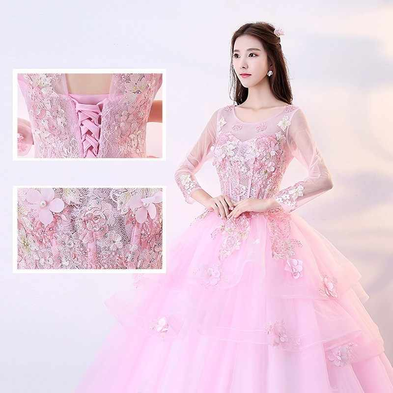 Дешевые розовые платья Quinceanera 2019 бальное платье одежда с длинным рукавом 15 Сладкие 16 пышные бальные платья для выпускного вечера светится в течение 15 лет