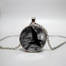 Glass Necklace Halloween Black Raven Handmade Personality Accessories Custom Private custom