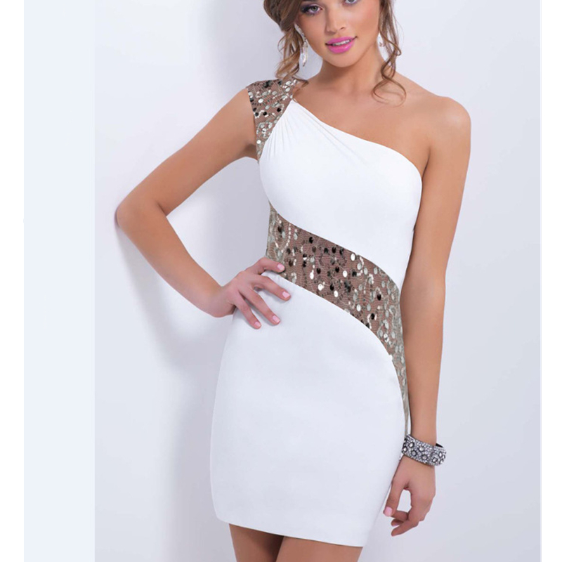 Summer Women Dress Europe Party Wrap Dresses Sexy Elegant Bodycon Sleeveles With Paillette One Shoulder White Dress Robe Femme
