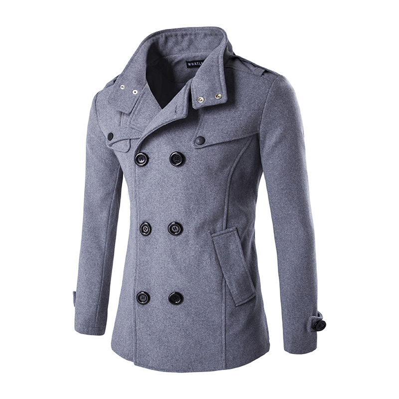 Autumn And Winter Pattern Man Both Row Buckle Zipper Stand Lead Woollen Overcoat Loose Coat casaco masculino sobretudo jaket men