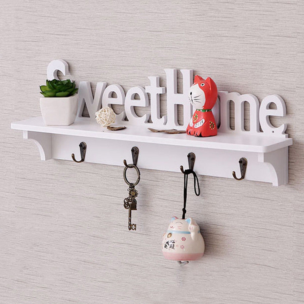 "Plastic Wooden Wall mounted rack Lettered ""SweetHome"" Wall Hook Door Mounted Rack Coat Key Hanger Home Decor Ornament White"