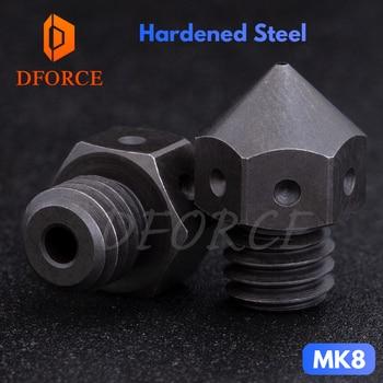 DFORCE high temperature Hardened Steel MK8 Nozzles for 3D printer PEI PEEK  or Carbon fiber for E3D