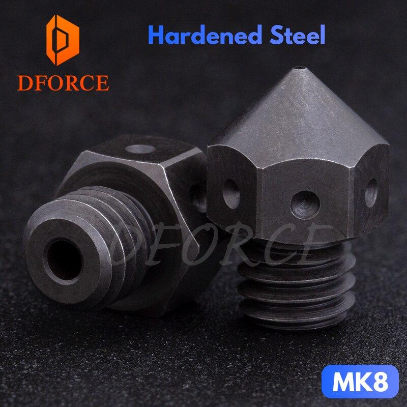 DFORCE hohe temperatur Gehärtetem Stahl MK8 Düsen für 3D drucker PEI PEEK oder Carbon faser für E3D HOTEND Extruder