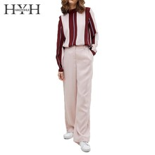 HYH HAOYIHUI 2019 New Women Blouse Contrast Stripes Stitching Half-high Collar Pullover Shirt