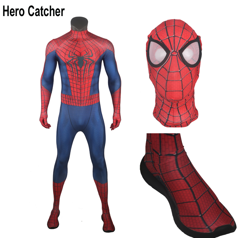 Hero Catcher High Quality For 180cm Tall Amazing Spider man Cosplay Costume With Shoes U zipper For Man Spider Man Costume