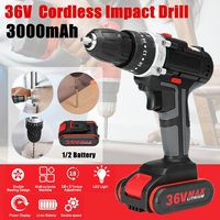 3000mAh 36V Electric Impact Cordless Drill 18+3 Clutches Wireless Electric Drill 1/2 Li ion Battery Home DIY Power Tool