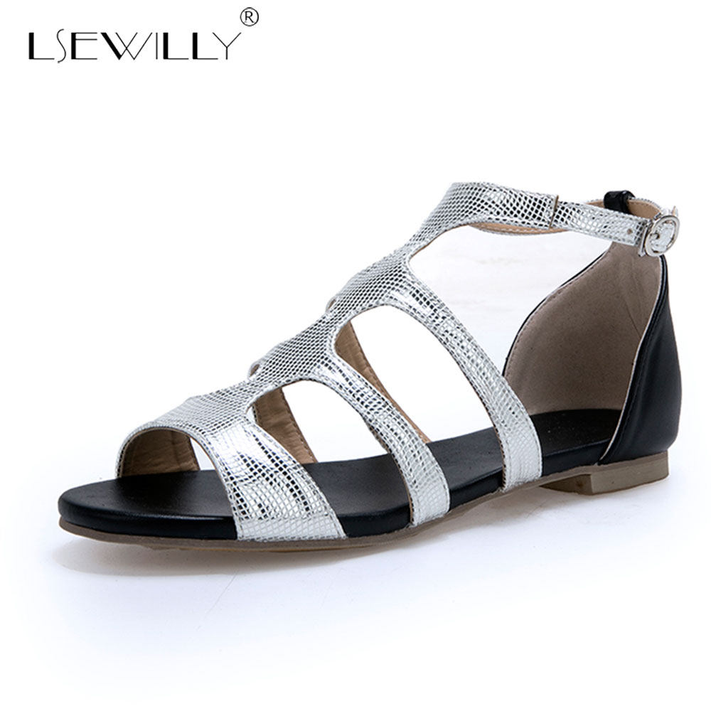 Lsewilly Shos woman Ladies sandals Buckle T-strap Flat with Peep toe Gold Silver Summer Plus size 33-47 Female Casual E741