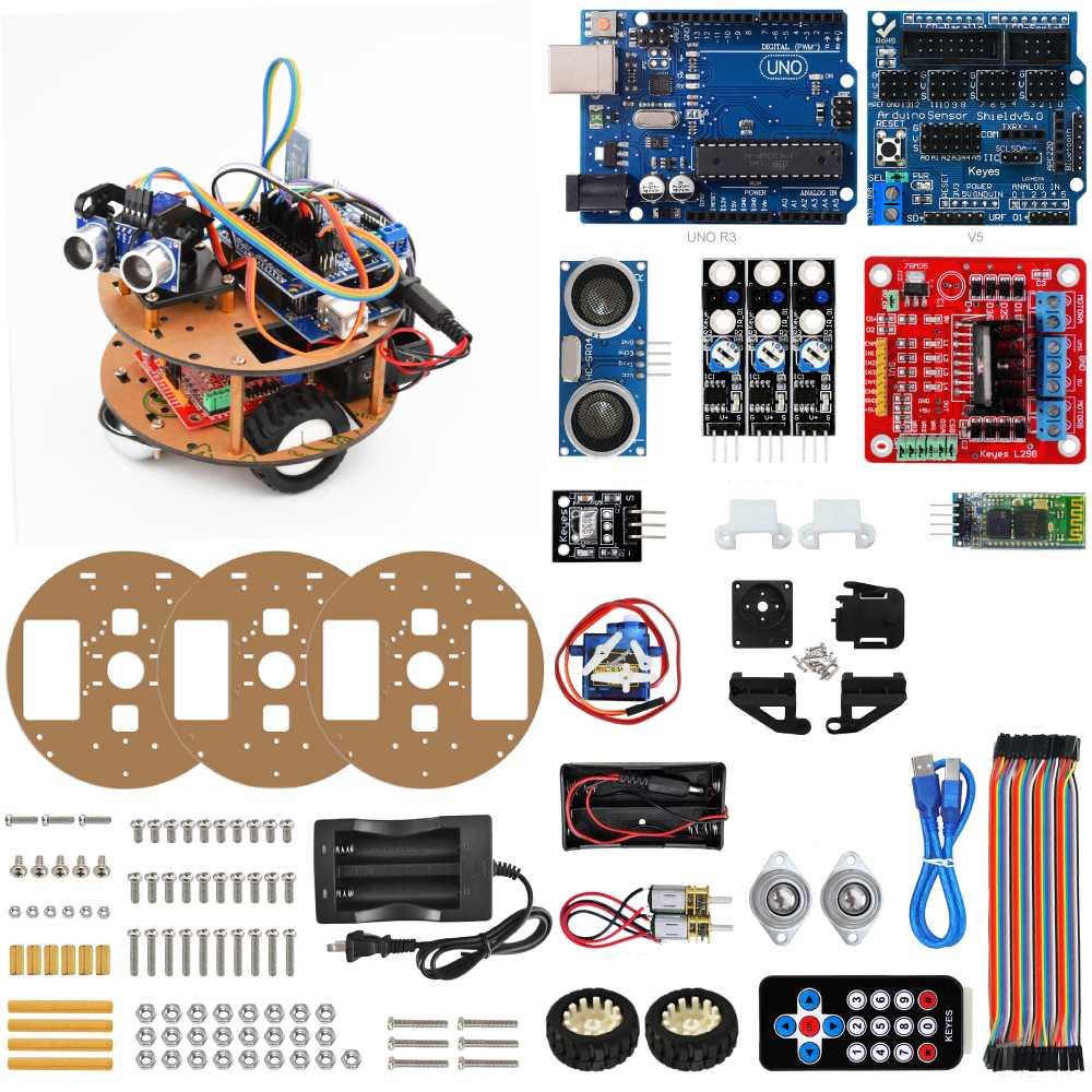 Kit de voiture Robot intelligent tortue bluetooth Kit d'apprentissage de contrôle sans fil pour Arduino Support suivi bricolage Kit d'assemblage