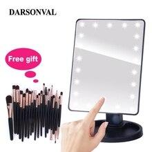 Светодиодный Профессиональный зеркала с подсветкой для макияжа с регулируемая светодиодная лампа 16/22 Сенсорный экран зеркала для Красота ресницы кисти для макияжа