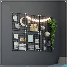 Multi-Function Iron Metal Grid Decor Photo Frame Wall Art Display Mesh Storage Shelf Organizer Rack Holder + 10pcs Wooden Clips(China)