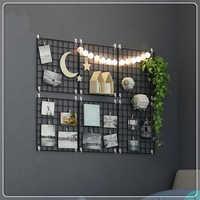 Multi-Function Iron Metal Grid Decor Photo Frame Wall Art Display Mesh Storage Shelf Organizer Rack Holder + 10pcs Wooden Clips