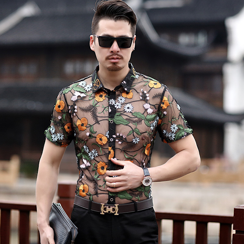 embroidery see through shirt flower lace shirt men chemise. Black Bedroom Furniture Sets. Home Design Ideas