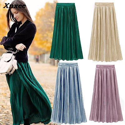 Vintage Women Metallic Luster Stretch High Waist Plain Skater Flared Pleated Long Skirt Gold Sequined Skirts Xnxee in Skirts from Women 39 s Clothing