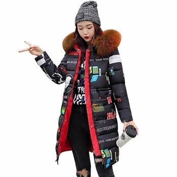Women Winter Coat Hooded Down Jacket 2018 Raccoon Fur Collar Thicken Both Sides Wear Cotton Parkas Plus Size 3XL Outerwear PJ235