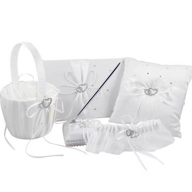 5 pièces/ensemble panier de fleurs de mariage + ensemble de stylo livre d'or + accessoires ensemble oreiller anneau - 3