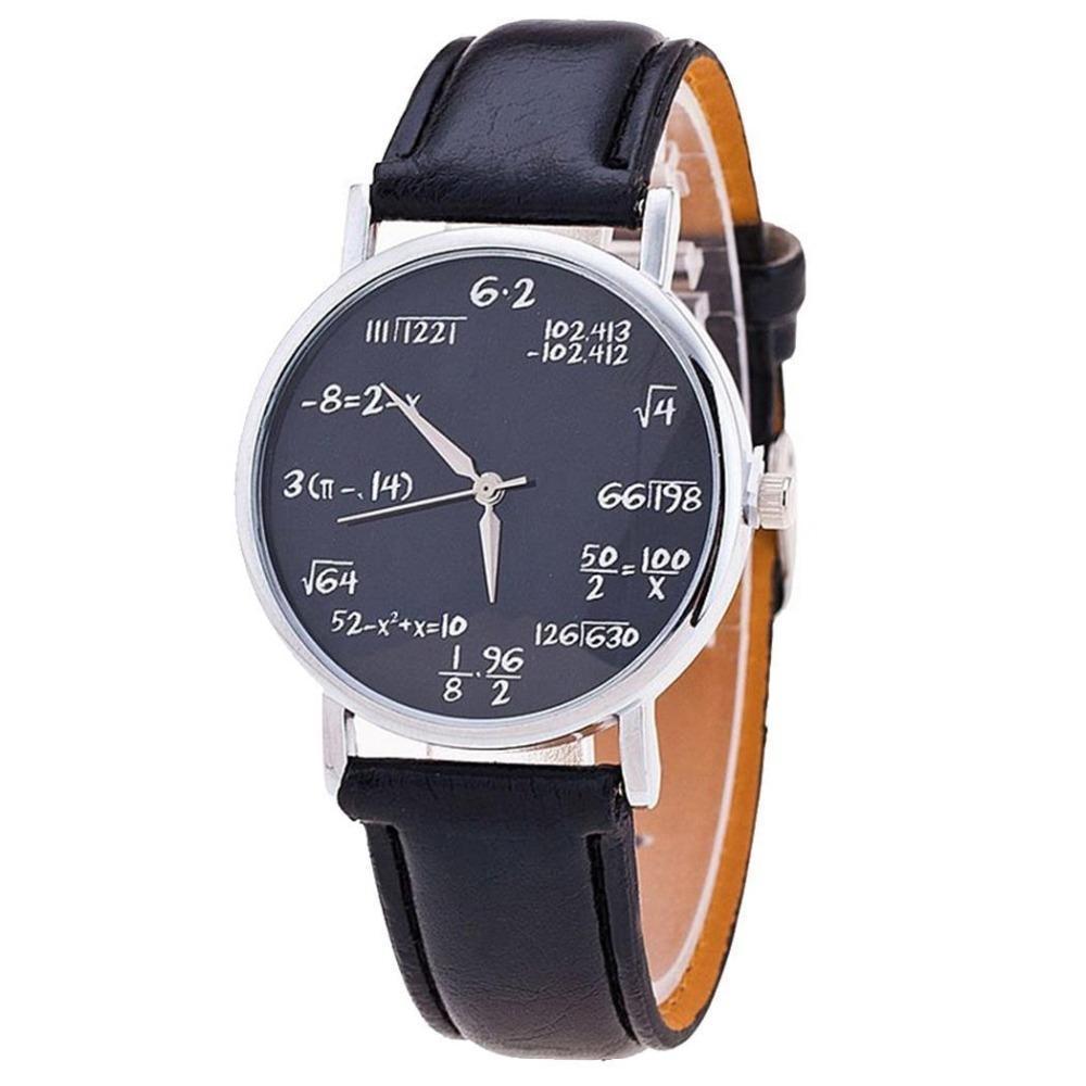 High-end Unisex Watch Men Women Watches Mathematical Formula Leather Wristwatch Luxury Relogio Feminino 2019 Saati Reloj Mujer