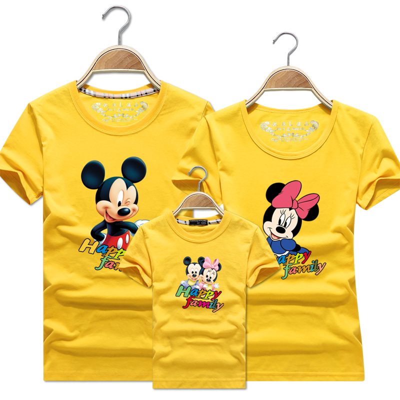 T-shirt Casual Round Neck Couple Mickey Family Children's Group Uniform Half Sleeve Family Matching Christmas  Clothes