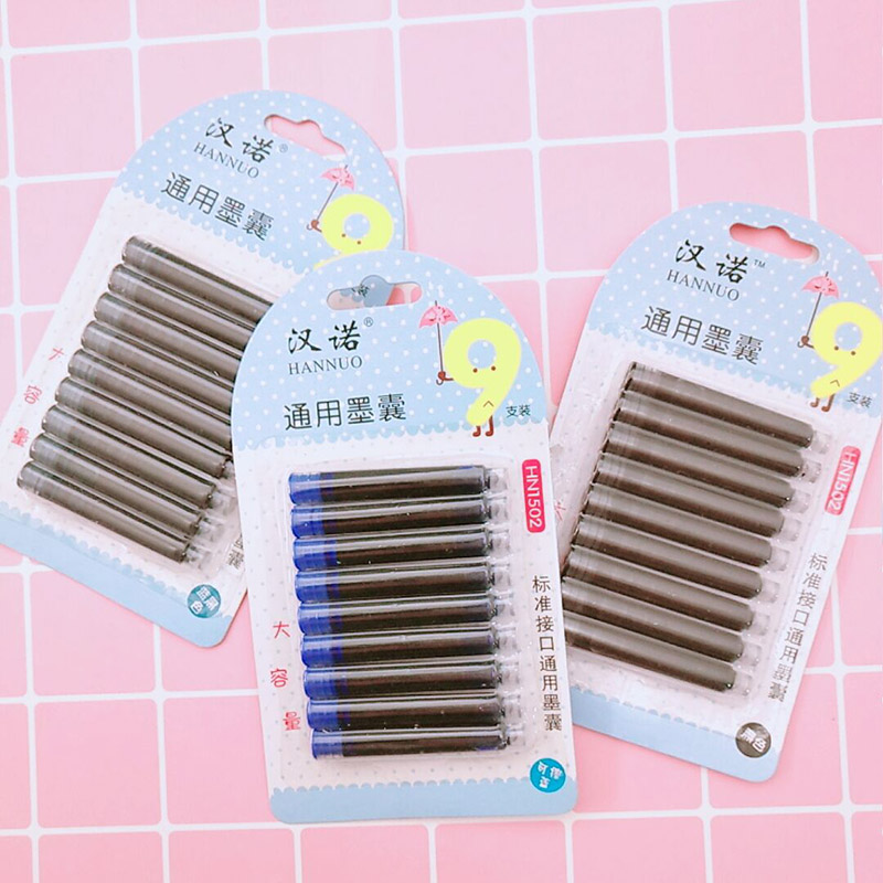 9Pcs/Set Disposable Ink Sac General Ink Sac Cartridge Refills For Fountain Calligraphy Pen Stationery School Office Supplies