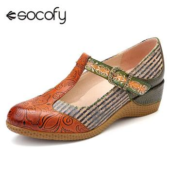 SOCOFY Vintage Flowers Pattern Genuine Leather Splicing Black Stripes Comfortable Hook Loop Pumps For Spring New Woman - discount item  53% OFF Women's Shoes