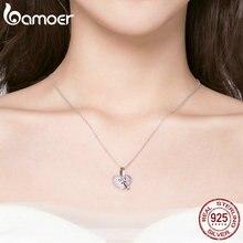 Women heart silver necklace 925 Luminous Pink CZ Bowknot Pendant Necklaces