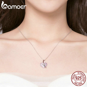 Image 5 - Bamoer coração colar de prata 925 luminoso rosa cz bowknot pingente colares para mulheres presentes de jóias finas para ela 45mm bsn049