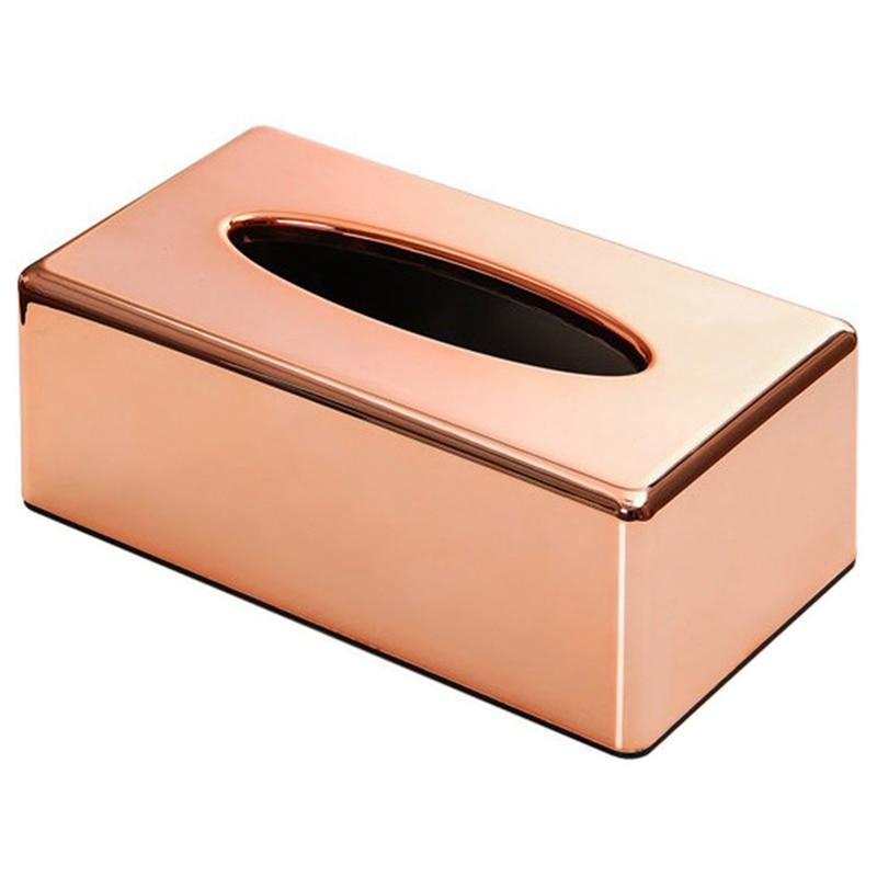 Paper Rack Elegant Royal Rose Gold Car Home Rectangle Shaped Tissue Box Container Napkin Tissue Holder
