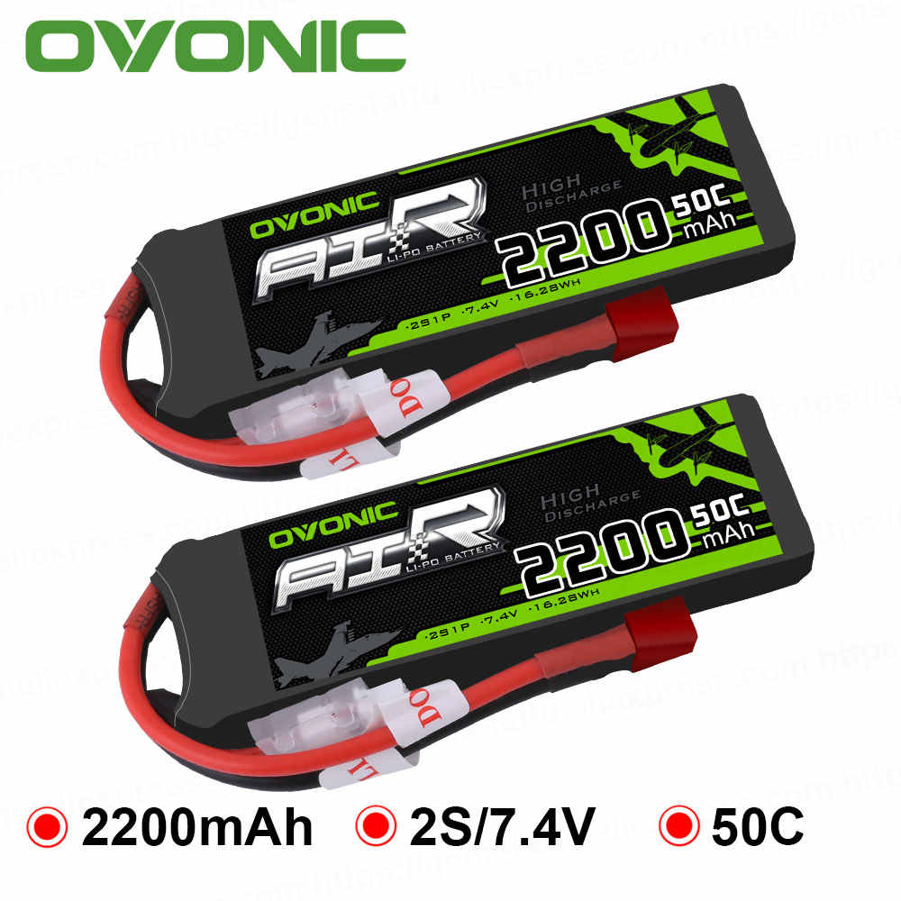 2X Ovonic 7.4V 2200mAh 50C-100C LiPo 2S Battery Pack with T Plug for RC Helicopter Airplane Multi-motor Hobby DIY Parts