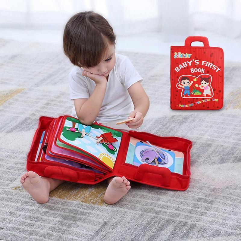 Non-toxique bébé éducation précoce apprentissage des compétences de la vie livre en tissu Anti-déchirure avec papier en trois dimensions livre en tissu anglais