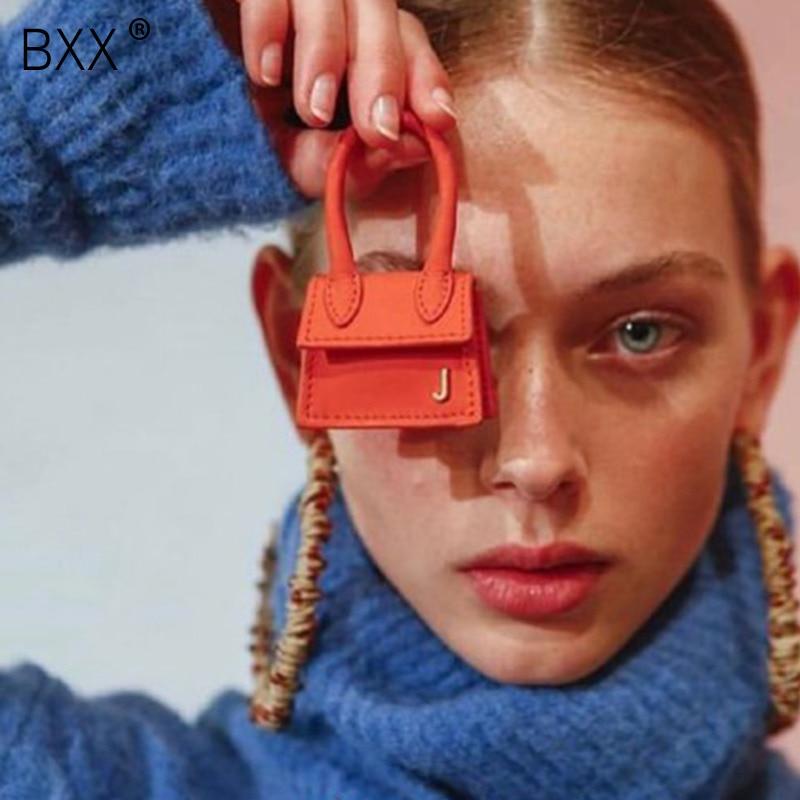 [BXX] 2020 New Woman Orange Color Mini Bag Hanging Decoration Bag Accessories Simple Hand-stitched Bag Ornament All Match LM907