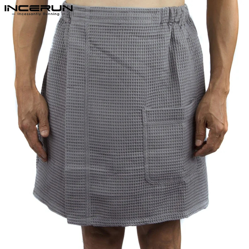 INCERUN Men Bathrobe Homewear Bath Skirt Cotton Elastic Waist Solid Color Pajamas Fashion Comfy Beach Men Skirts Underwear 2020