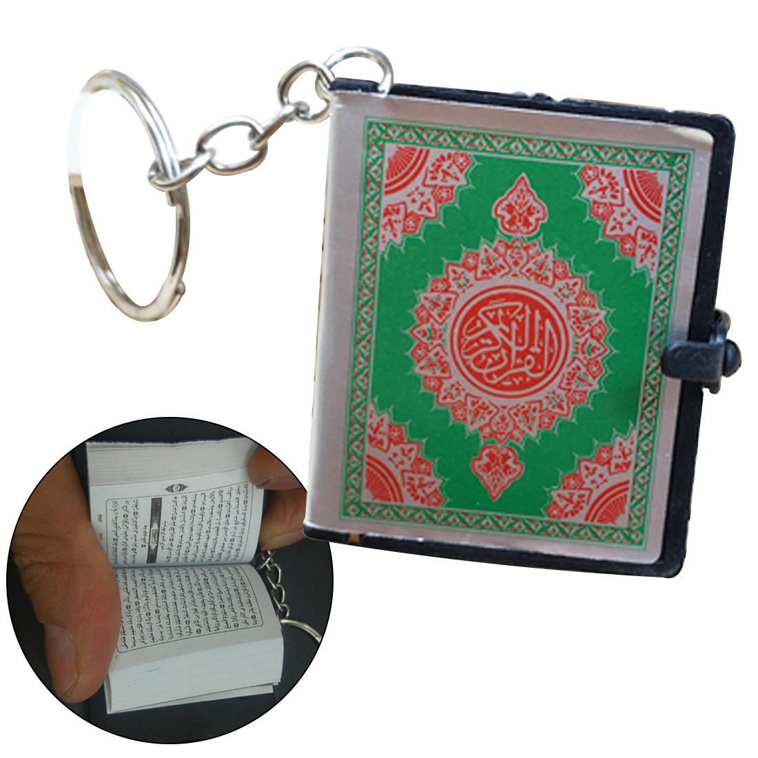 Image 2 - Cute Mini Arabic Quran Islamic Keychain Women Allah Real Paper 