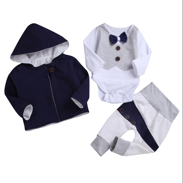 87822bf12 New Year Formal Baby Boy Party Clothes Long Sleeve Bow Tie Gentleman Romper+Hooded  Coat+Patchwork Pants Winter Outfit Infant New