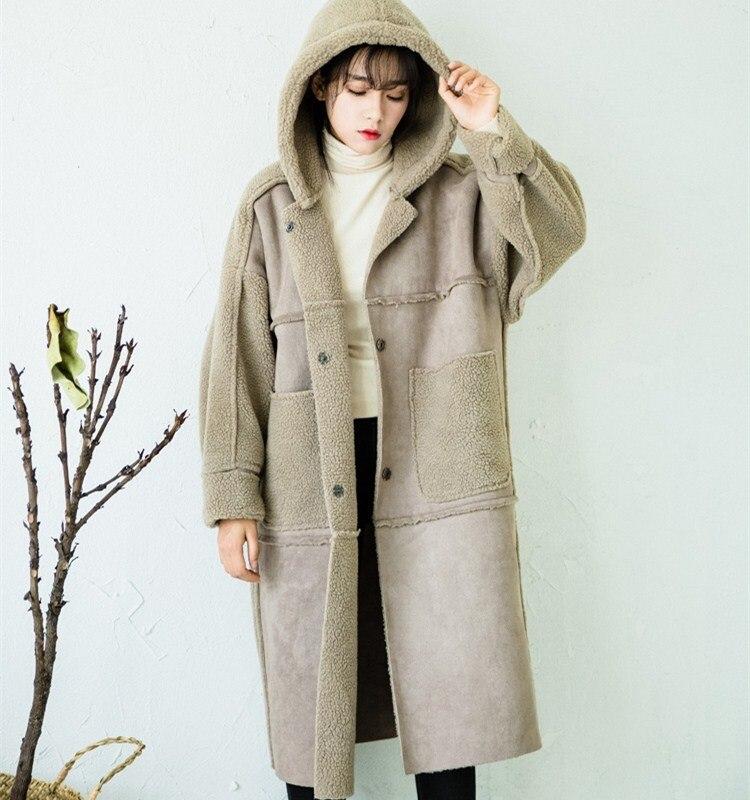 Winter Long Sleeve Long Parkas Women Turn-Down Collar Warm Outerwear Casual Patchwork Fur Pockets Faux   Suede   Coats