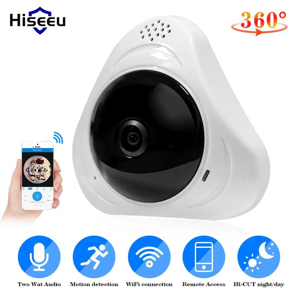 Hiseeu WiFi FishEye IP Caméra 960 P 3MP 1.3MP 3D VR Panoramique 360 Degré une Vue Plein Écran Mini CCTV Caméra Sans Fil accueil Caméra de Sécurité