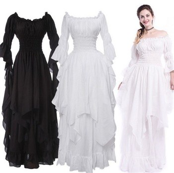 Fashion Loose Women Gothic Dress Female Princess Flare Sleeve Pullover Long Dress Elegant Off Shoulder Party Plus Size Dresses