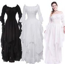 Fashion Loose Women Gothic Dress Female Princess Sleeve Pullover Long Elegant Black White Party Plus Size