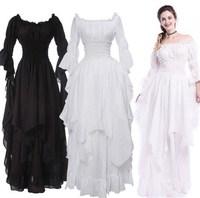 Fashion Loose Women Gothic Dress Female Princess Sleeve Pullover Long Dress Elegant Black White Party Plus Size Dress