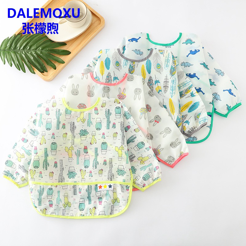 DALEMOXU 1PC Baby Bibs Waterproof Cute Cartoon Children Eating Plastic Bib Long Sleeve Apron EVA Feeding Smock