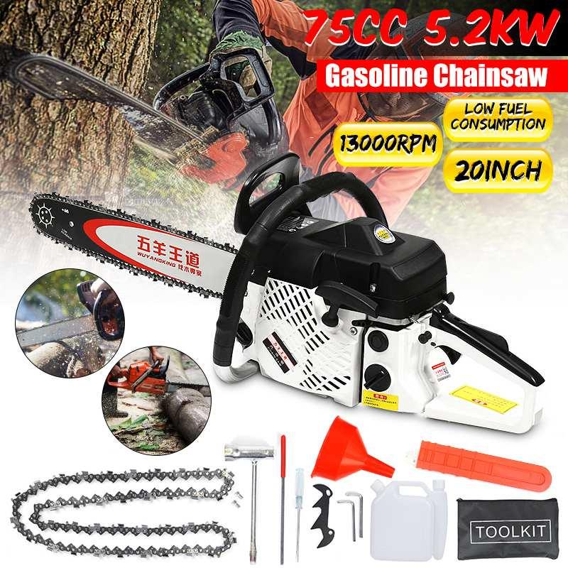 Professional High-quality Chainsaw 20 Inch 5200W Bar Gas Gasoline Powered Chainsaw 75cc Engine Cycle Chain Saw