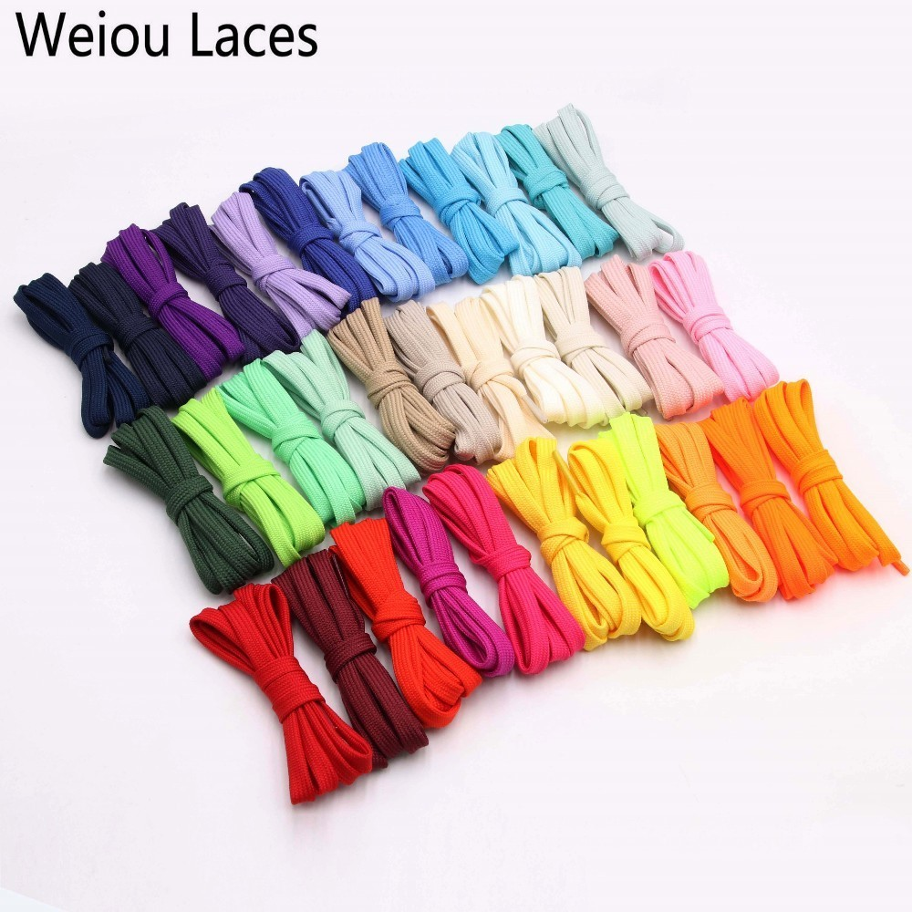Weiou New 7mm 34 Solid Colors Shoelace A Pair Of Classic Hollow Double Flat Shoelace Woven Laces Sports Casual Bootlaces Lacet