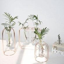Недорогая Роскошная стеклянная железная художественная ваза в скандинавском стиле, 1 набор, розовое золото, цеометрическая форма, цветочный горшок, домашние свадебные украшения, аксессуары
