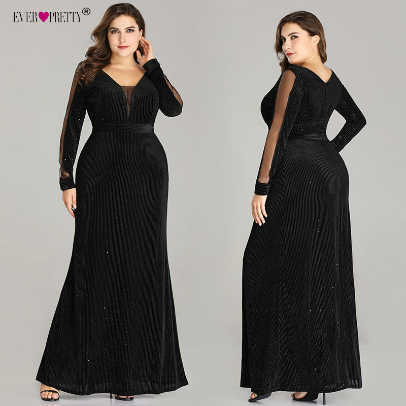 Detail Feedback Questions about Robe De Soiree Plus Size Evening Dresses  Long Ever Pretty Elegant V Neck Long Sleeve Sparkly Mermaid Black Wedding  Party ... 272e5d287166
