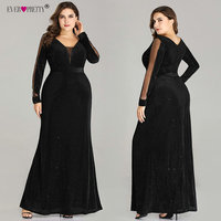 Robe De Soiree Plus Size Evening Dresses Long Ever Pretty Elegant V Neck Long Sleeve Sparkly Mermaid Black Wedding Party Gowns