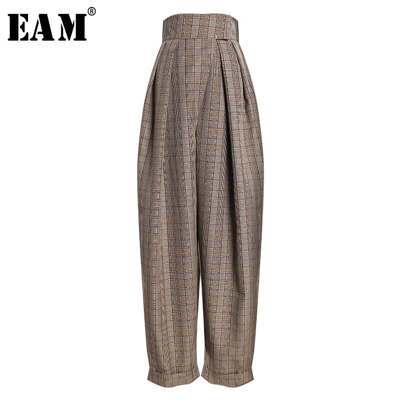 [EAM] 2019 New Spring Summer High Waist Gray Plaid Printed Pleated Loose   Wide     Leg     Pants   Women Trousers Fashion Tide JO034