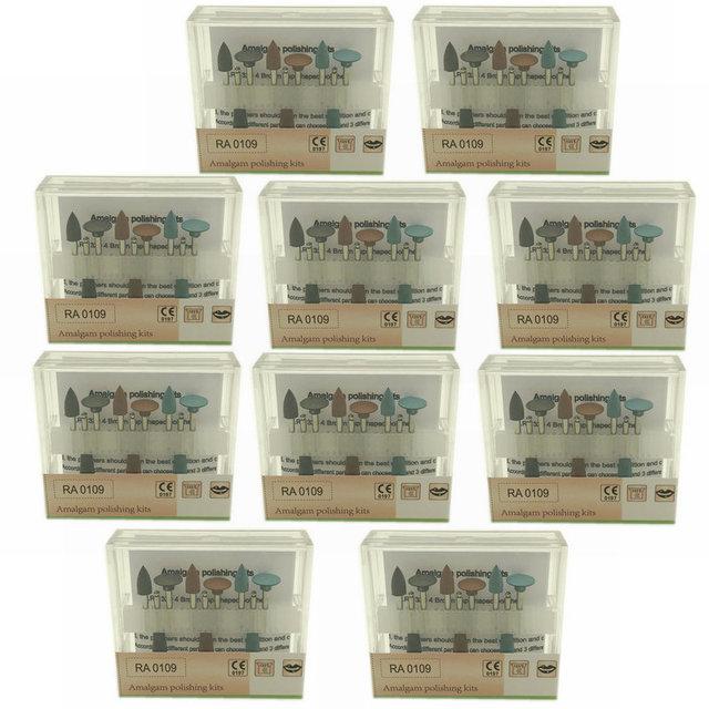 10X Dental Amalgam Polishing Kits Silicone Polisher Diamond Burs Cups RA 0109