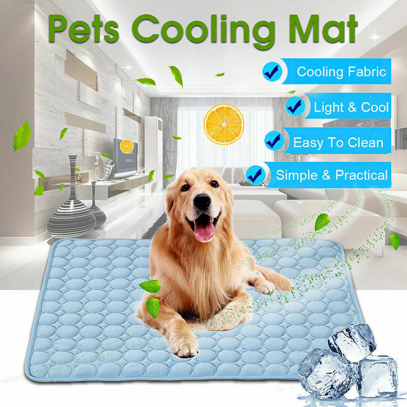 2019 Newest Hot Summer Pets Dogs Cat Cooling Gel Mat Bed Heat Relief Non Toxic Cushion Pad Blue 29