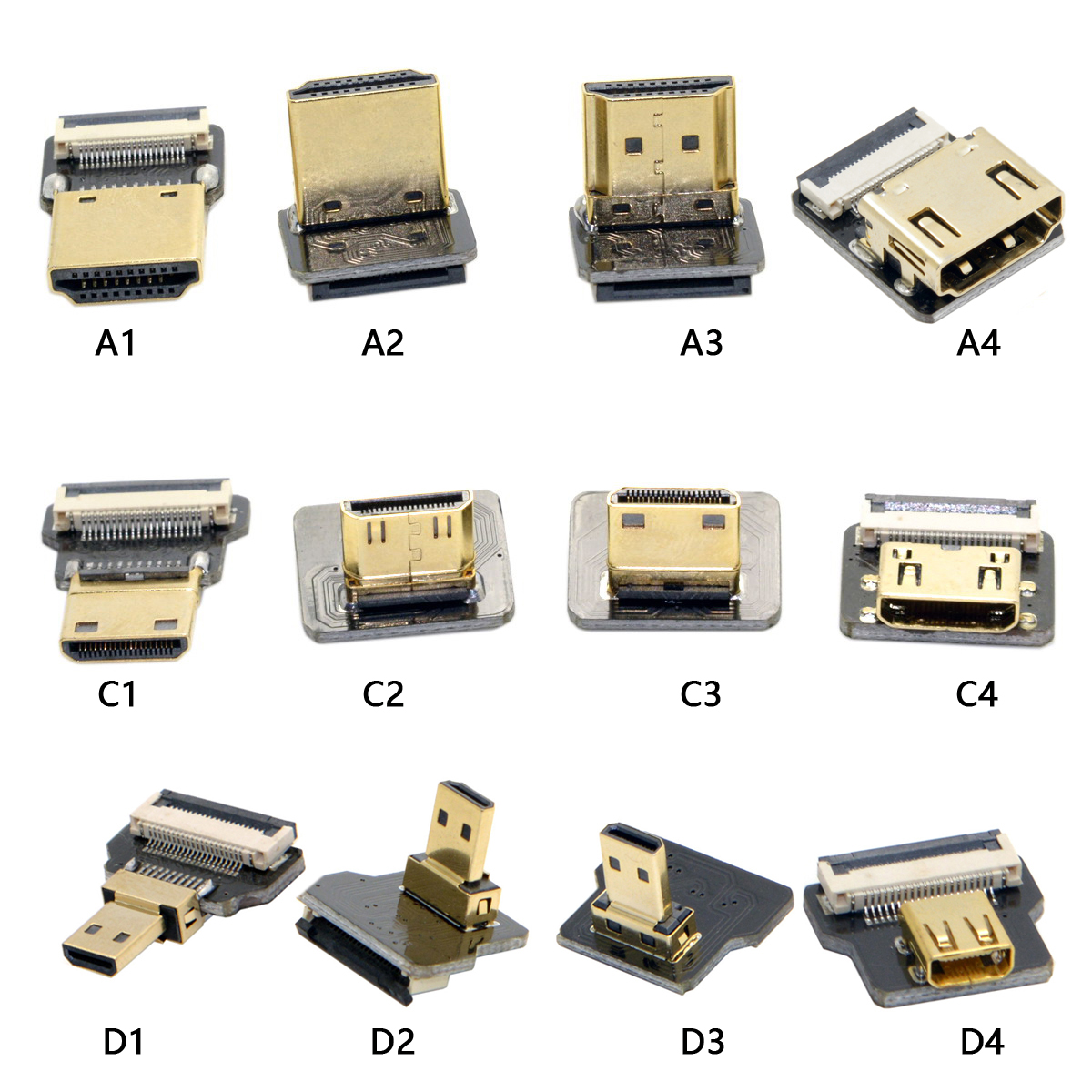 A4-D HDMI FPV Type A female to Micro HDMI Type D Up Down angle male Female Elbow HDTV Flat FPC Cable for GH4 GoPro BMPCC A5000 thumbnail