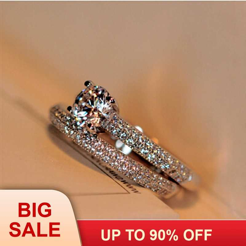2016 hot fashion new style real 5A Zircon stone 925 sterling silver 2-in-1 Engagement Wedding Ring Set for women Size 4-11