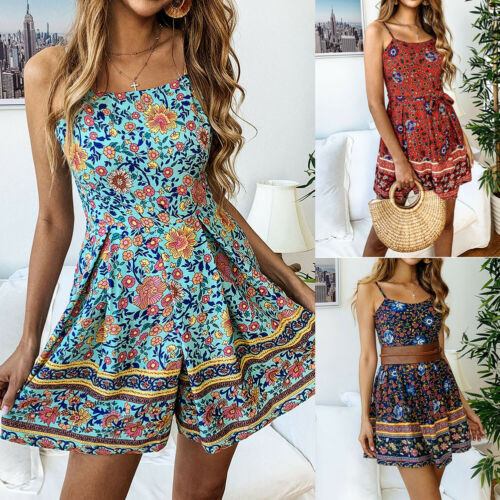 Hot Fashion Women Boho Mini   Jumpsuit   Romper Summer Holiday Floral Beach Shorts Playsuit 2019 new